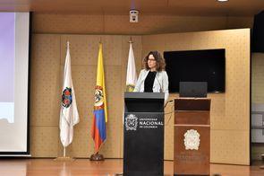 Lien Verbauwhede Koglin, consejera de la División de Apoyo a las Pymes y a la Iniciativa Empresarial de Organización Mundial de la Propiedad Intelectual (OMPI), también abrió el evento (Foto: Aura Flechas /Dirección Nacional de Extensión, Innovación y Pro